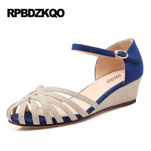 093bf8899139 Pumps Ladies Summer 4 34 Small Size Ankle Strap 2017 Unique Low High Heels  Blue Shoes Thin Wedge 4cm 2 Inch Sandals Round Toe