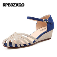 Pumps Ladies Summer 4 34 Small Size Ankle Strap 2017 Unique Low High Heels Blue Shoes Thin Wedge 4cm 2 Inch Sandals Round Toe
