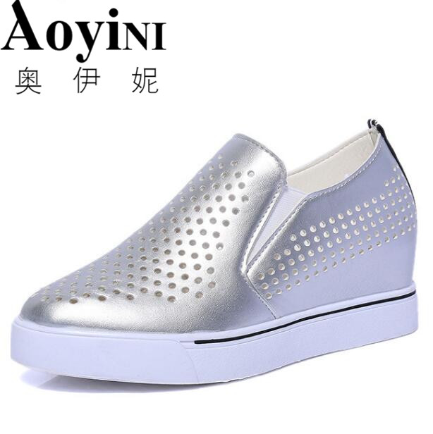 NEW 2018 Fashion Split Leather Women Loafers Flats Shoes Women Casual Slip On Platform Wedges Shoes Ladies Comfort Shoes women flat platform loafers shoes 2018 new brand women leather casual platform shoes for ladies new fashion flats shoes women