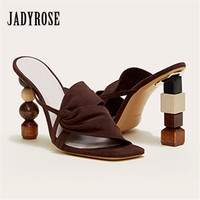 Jady Rose Strange Heel Women Summer Sandals 10CM High Heel Slippers Suede Gladiator Sandal Ladies Prom Dress Shoes Slides