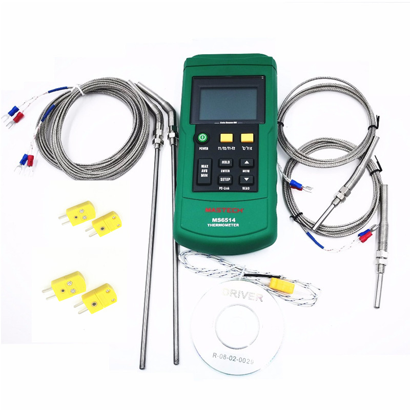MASTECH MS6514 Dual Channel Digital Thermometer + 2PCS 30mm and 2pcs 200mm K-type thermocouple temperature sensor probe 2 meter lcd digital humidity and temperature meter gauge type k thermocouple sensor probe 2 in 1 measurement thermometer 10degc 50 degc