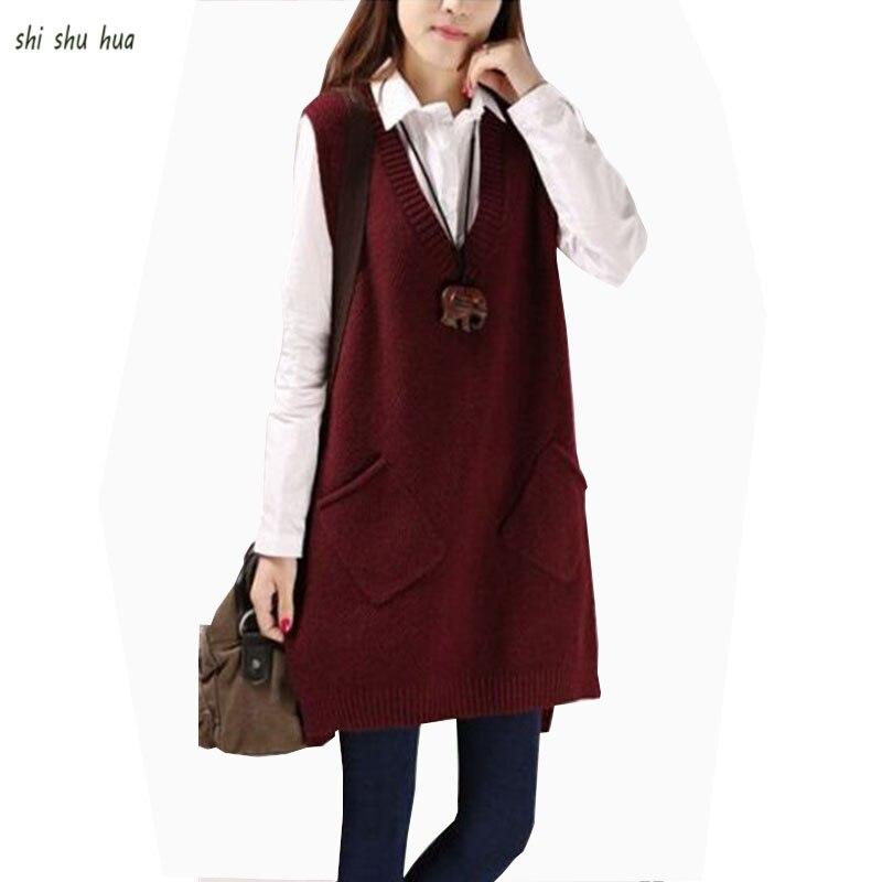 Menina roupas de malha camisola colete com decote em v bolsos oblíquos decorativos moda crianças Wear14-20 y criança qualidade roupas venda quente