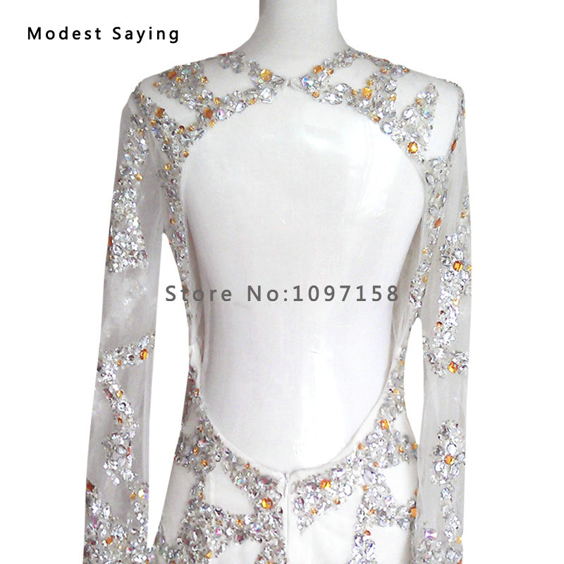 Real Silver Luxury Straight Beaded Short Cocktail Dresses 2017 Mini Women Long Sleeves Party Prom Gowns Robe Sur Mesure Yc24 Weddings & Events