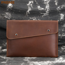 PNDME retro high quality crazy horse cowhide mens clutch bag casual simple luxury genuine leather 9 inch tablet phone