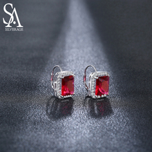 цена SA SILVERAGE 925 Sterling Silver Earrings For Women Fine Jewelry Silver Christmas Gift Hoop Earrings Women онлайн в 2017 году