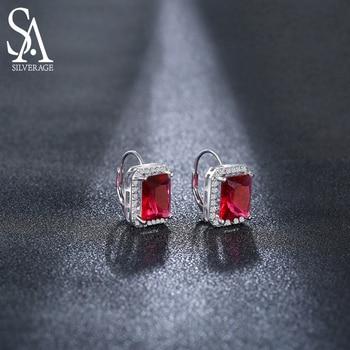цена SA SILVERAGE 925 Sterling Silver Earrings For Women Fine Jewelry Silver Christmas Gift Hoop Earrings Women онлайн в 2017 году