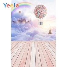 Yeele Fairytale Cloud Wooden Floor Castle Helium Balloon Children Photography Backdrop Photographic Background For Photo Studio