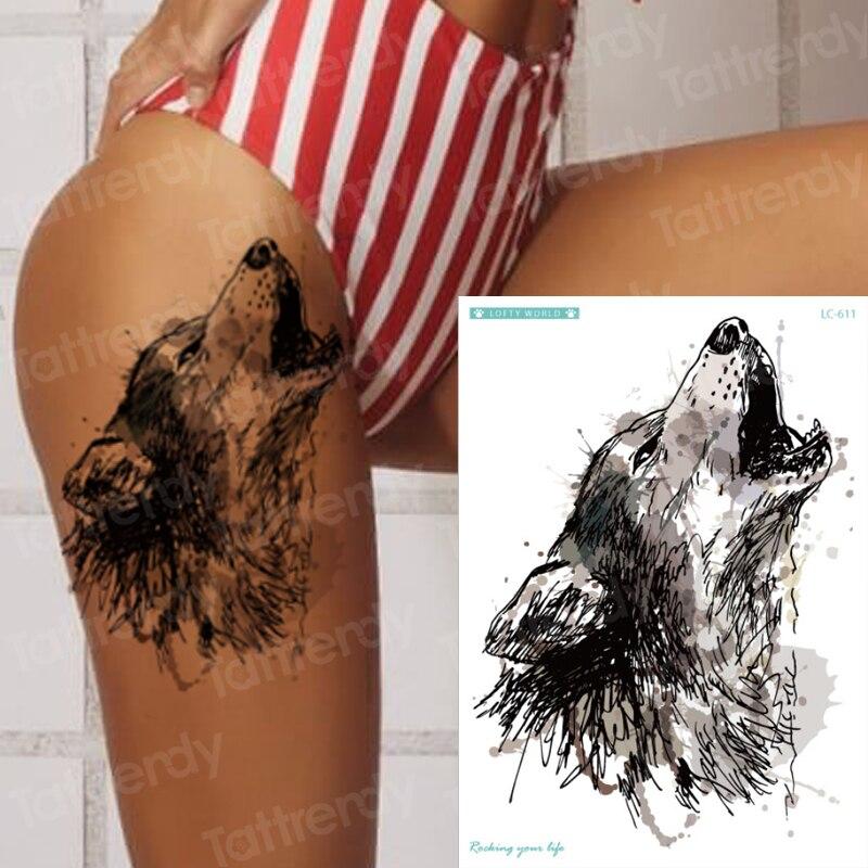 Sexy Tatoo For Woman Tattoo Sticker Waterproof Big Black Temporary Wolf Tattoo Designs Animals Body Art Decal Water Transfer