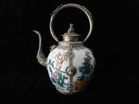 Healing Antiques Tibetan Silver Flagon Package Enamel Teapot Ornaments Garden Decoration 100 Real Tibetan Silver Brass