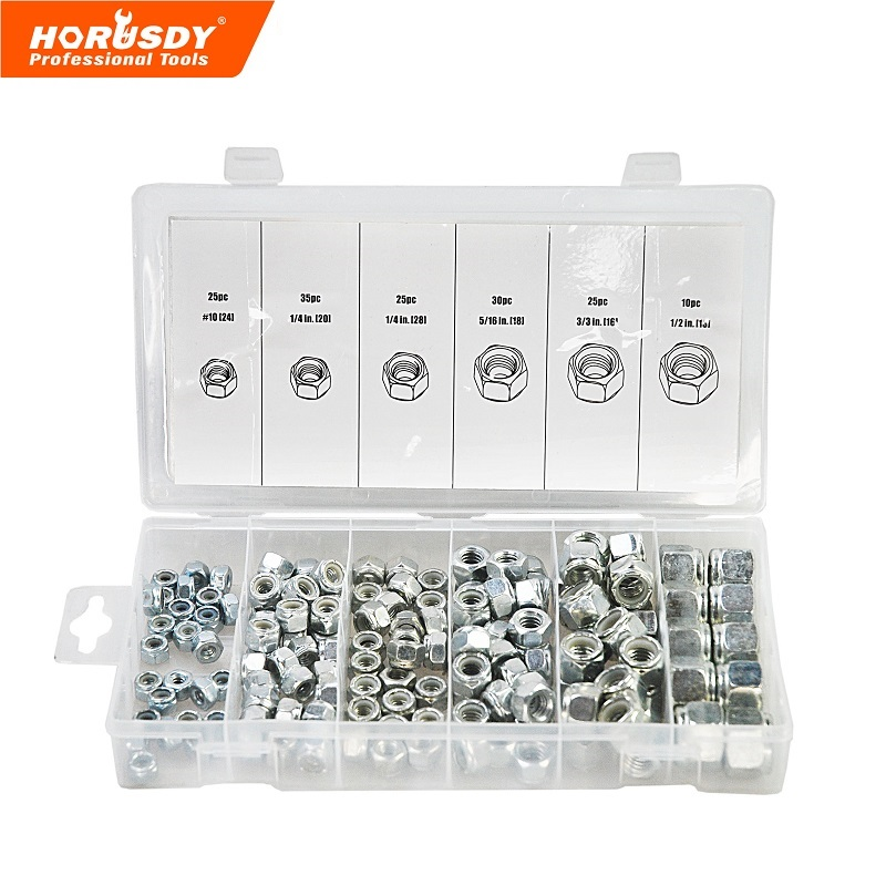 HORUSDY Stainless Steel Lock Nut Sae Nylon Insert For Industry Tool 150pcs Assortment Kit stainless steel spring nutcracker creative nut sheller