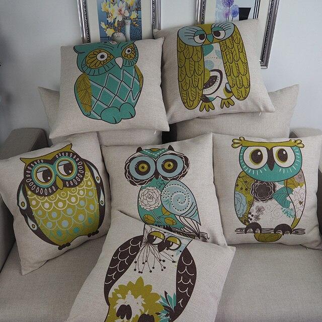 Owl cushion cartoon hand painted bird owl throw pillows