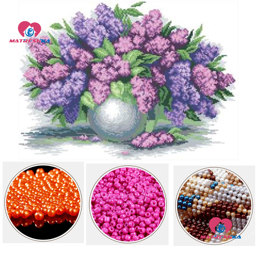 beads embroidery lavender flower beadwork home decor crafts beads cross stitch accessories pearl embroidery Partial embroidery