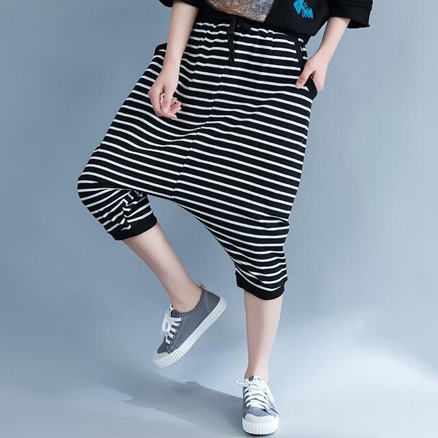 bcfc9124e18 2018 New summer pants black and white stripes plus size loose trousers  women casual korean harem pants pantalon femme