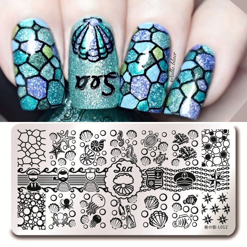 Harunouta Nail Art Stamping Plates Rectangle Sea Shell Sailor Image Tools for Manicure