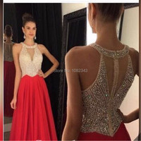 Elegant Red O Neck A Line Chiffon Sleeveless Long Evening Dresses 2016 With Beading Floor Length