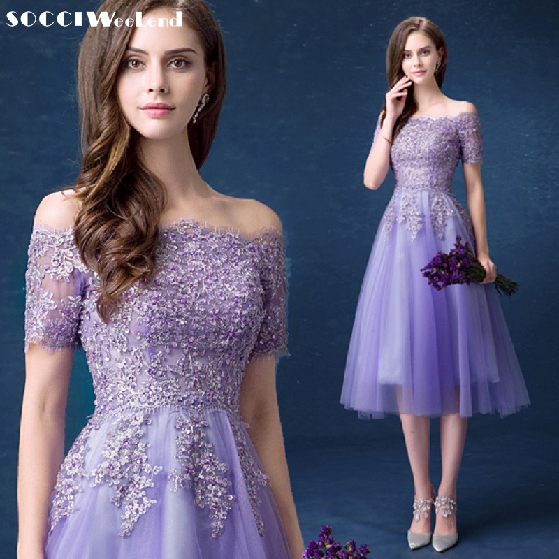 SOCCI Lilac Lace Sexy Boat-Neck Strapless Cocktail Dress 2019 Beaded Lace-up Back Tea-Length Gowns Ladies Evening Party Dresses