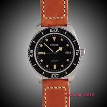 43mm Parnis black dial sapphire glass Orange Marks Stainless steel Case miyota Automatic mens Watch 10ATM black bezel