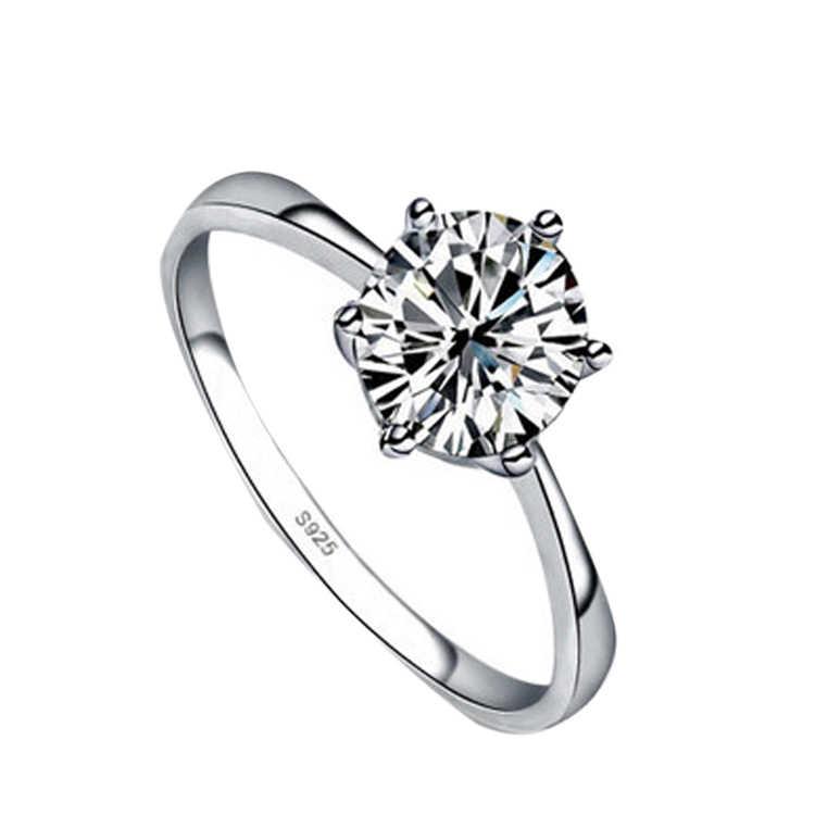 Hohe Qualität Silber Farbe Strass Intarsien Frau Ringe Hochzeit Geschenk RING Verlobung Ringe für frauen Drop verschiffen