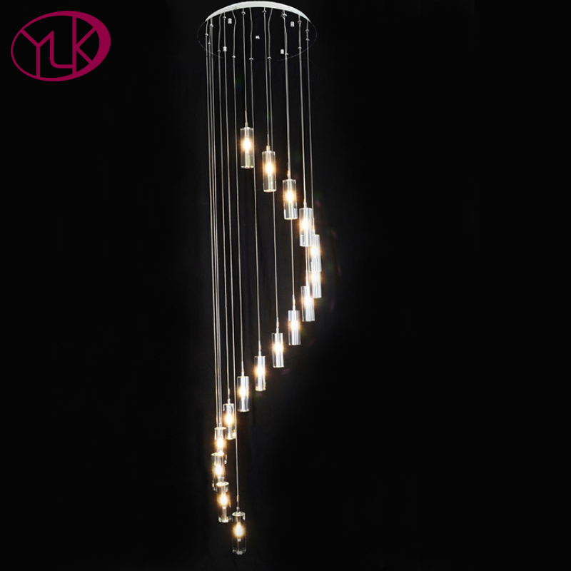 цены 16 Lights Crystal Chandelier For Stair Spiral Home Decoration Hang Crystal Lights LED Lustres De Cristal Brief Indoor Lighting