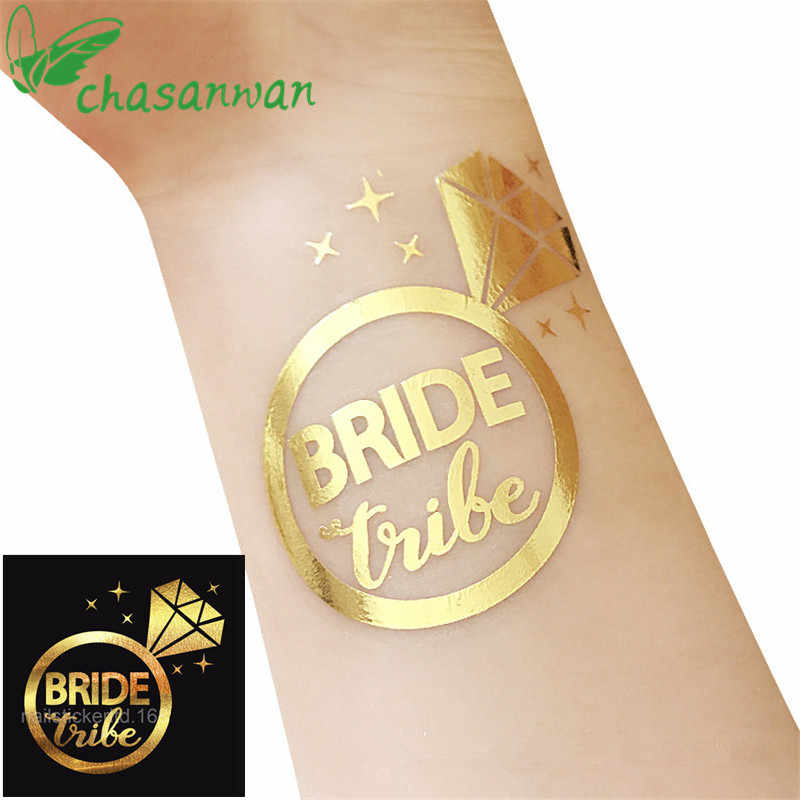 Hot 25Pcs Pengantin untuk Pengantin Stiker Emas Pengantin Tim Tato Sementara Stiker Lajang Pesta Pernikahan Dekorasi. W