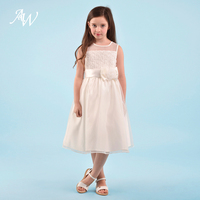 AW A Line Sleeveless Flower Girl Dress Ivory Color Kids Evening Gowns For Wedding Evening Party