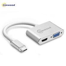 Kimwood USB C HDMI VGA Adapter USB Type-c to HDMI 4K Male to Female for MacBook Pro ChromeBook Xiaomi Huawei Mate 10 USB C HDMI