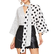 Black White Contrast Color Tops Women Korean Polka Dot Flare Sleeve Blouses Shirts 2019 Bow Tie V Neck Long Blouse Shirt New contrast crochet bow tie neck pullover