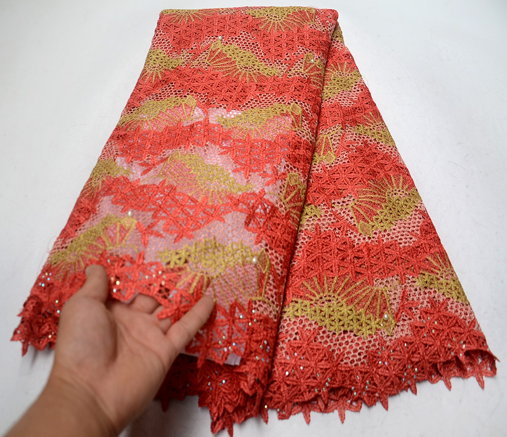2019 New Arrival Red African Lace Fabric High Quality Cord Lace Guipure Lace Fabric Embroidered Water Soluble Lace Fabric 2019 New Arrival Red African Lace Fabric High Quality Cord Lace Guipure Lace Fabric Embroidered Water Soluble Lace Fabric