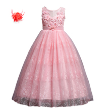 Children Evening Party Luxury Girl Long Dress for Princess 5-14y Kids Girls Long Flower Lace Party Ball Gown