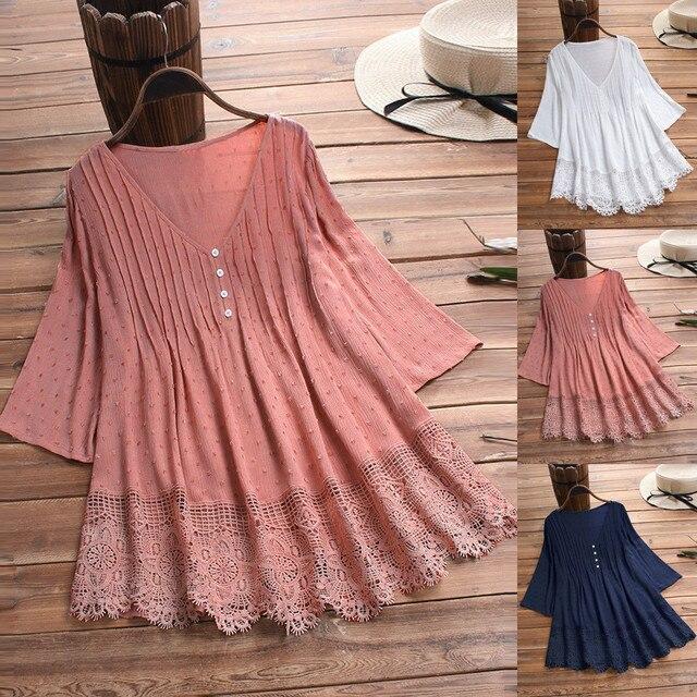 Summer Solid Blouse Plus Size S-5XL Women Vintage Jacquard Three Quarter Lace V-Neck Button Top Blouse Wholesale N4 3