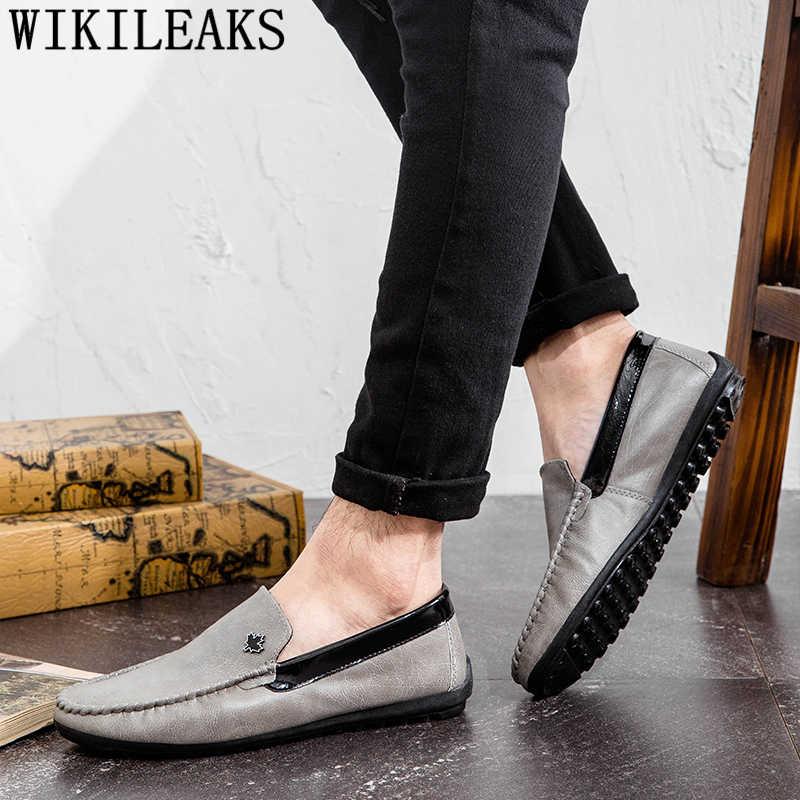 Erkek mokasen deri İngiliz erkek ayakkabı rahat lüks marka sürüş ayakkabısı tasarım ayakkabı erkekler yüksek kaliteli chaussure homme buty