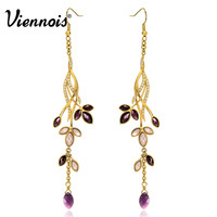 Viennois Leaves Long Dangle Earrings For Women Gold Color Crystal Glass Drop Earrings Female Wedding Party