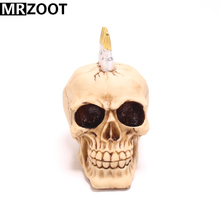 MRZOOT Gothic Punk Horrifying Skull Sculpture Resin Crafts Home Decoration Halloween Festival Party or Holiday Gifts