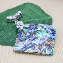 52mm Ethnic Chic Accessories Series stripe Abalone women girls gifts seashells sea shells pendant necklaces jewelry crafts DIY