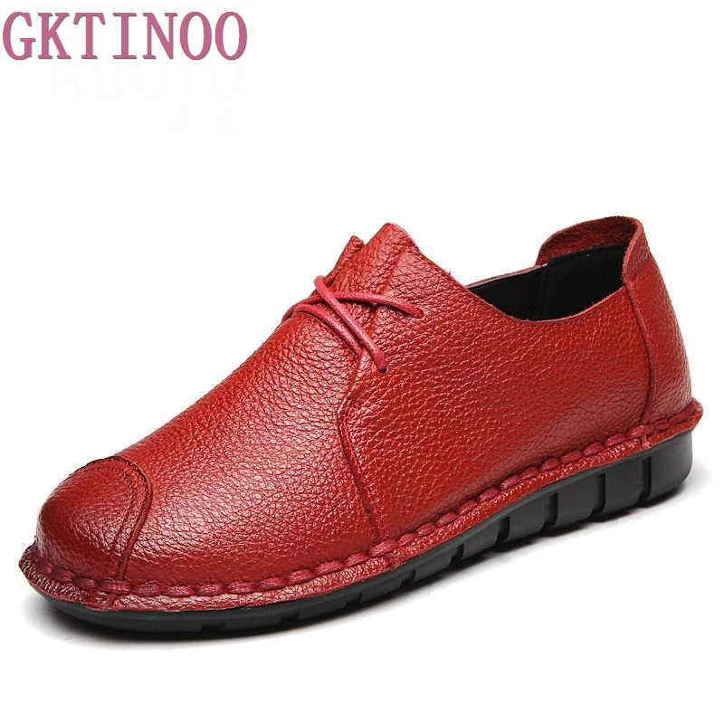 GKTINOO Handmade vintage women's shoes genuine leather female loafers soft outsole casual shoes flats цены онлайн