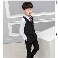 Boys Wedding Blazer Suits Vest+Blouse+Tie+Pants 4 pieces/set Blazer Kids Cotton Formal Blazer Suit Children Party Clothing Set