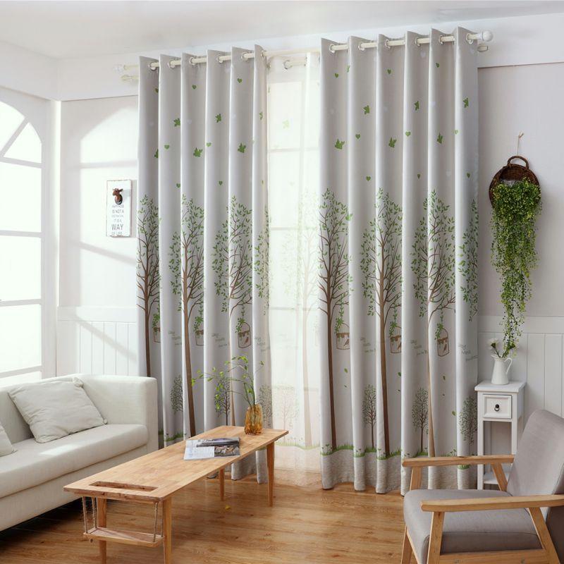 Fashion Stripe Rustic Curtain Yarn Bedroom Living Room: Print Bird Window Curtain American Rustic Style Curtains