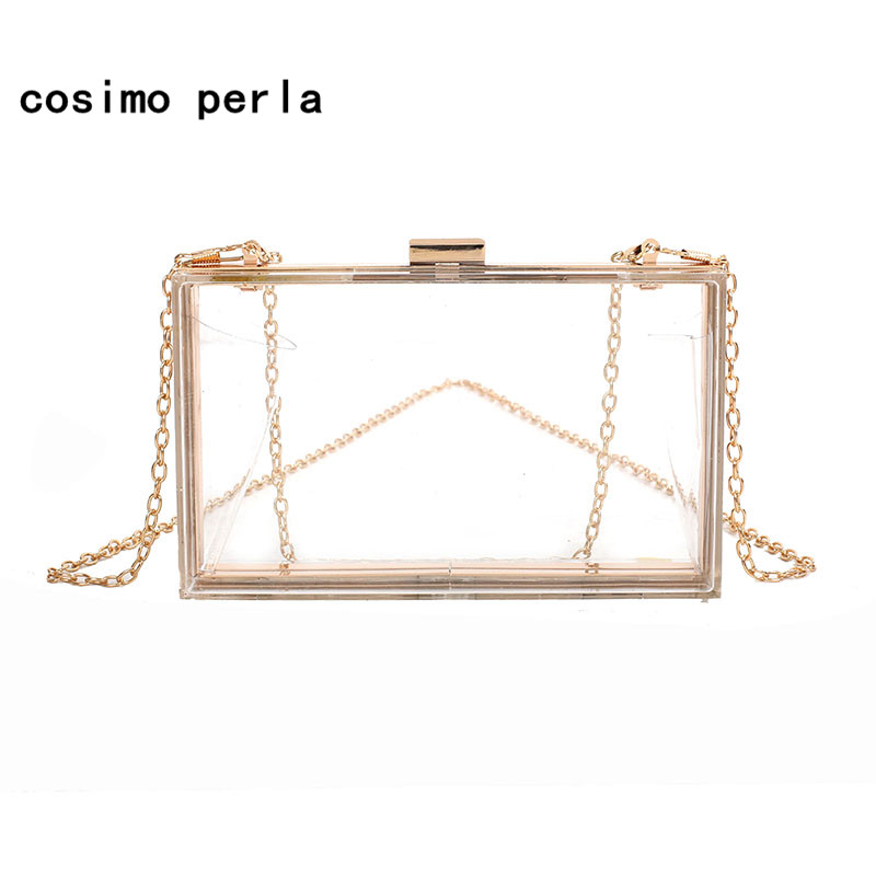 Acrylic Transparent Boxed Clutch Bags PVC Clear Hand Bag Women Party Banquet Evening Bag Mini Chain Shoulder Bag Purses Wallets
