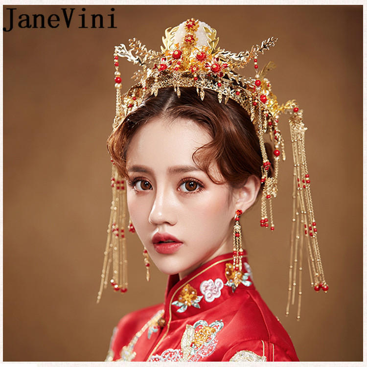 JaneVini Oriental Chinese Wedding Bridal Hairband Vintage Red Hair Accessories Jewelry Gold Long Tassel Pageant Crowns Tiaras 00009 red gold bride wedding hair tiaras ancient chinese empress hair piece