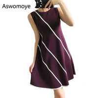 The New Spring and Summer 2018 Fashion Women Sweater Dress Sleeveless A-line Knitted Striped Dress Female O-neck Purple Dresses