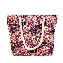 2016 new women canvas bag flower printing handbags geometric pattern high capacity all match Beach handbags