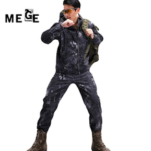 MEGE Men Jackets TAD Hunting Hiking, Outdoor Sports SoftShell Sharkskin Autumn Winter Clothing, Windproof Hoodies, Military Coat