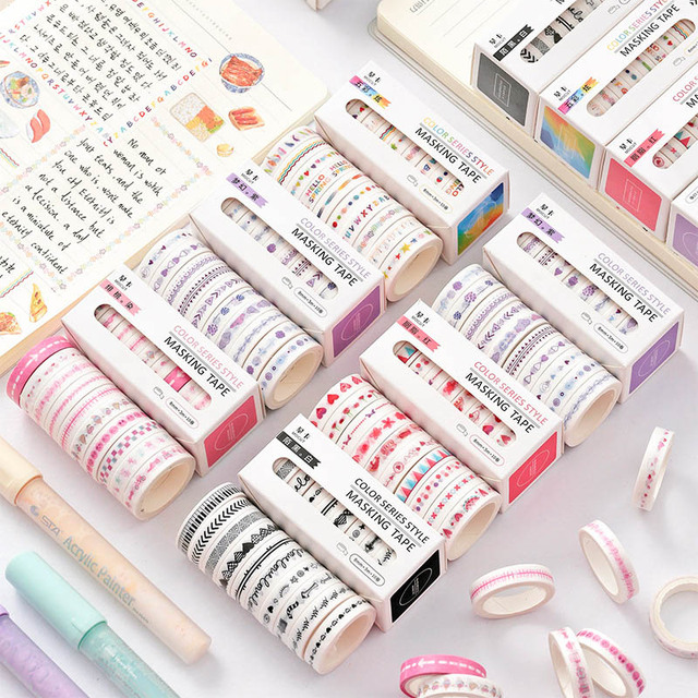 10Pcs/Set Cute List Diary Washi Tape Set Kawaii Masking Tapes For Kids DIY Decorative Diary Scrapbooking Photo Ablums 1