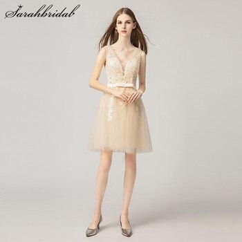4e7c7970c46 Простые элегантные Короткие вечерние платья трапециевидной формы v-образным  вырезом сзади молния Тюль из бисера Пром платья мини без рукав.