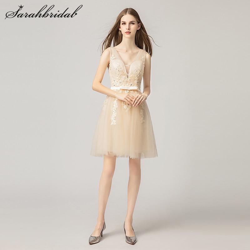 db14acfabd36cb2 Простые элегантные короткие платья для выпускного вечера, а-силуэт, v-образный  вырез