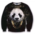 2017 autumn newest style Cool Gold chain panda 3D print Long Sleeve sweatshirts O-neck fashion casual sweatshirt pullovers