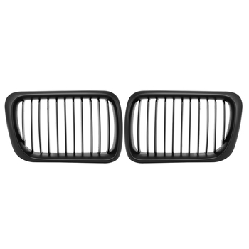 1 Pair High Quality ABS Front Hood Kidney Grille Grills Gloss Black for BMW E36 3-Series 1997 1998 1999 Auto Car Styling P8 image