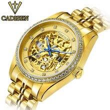2017 CADISEN Famous Brand Name Golden Skeleton Mechanical Watch Men's Fashion Business  Wristwatches Clock Relogio Masculino
