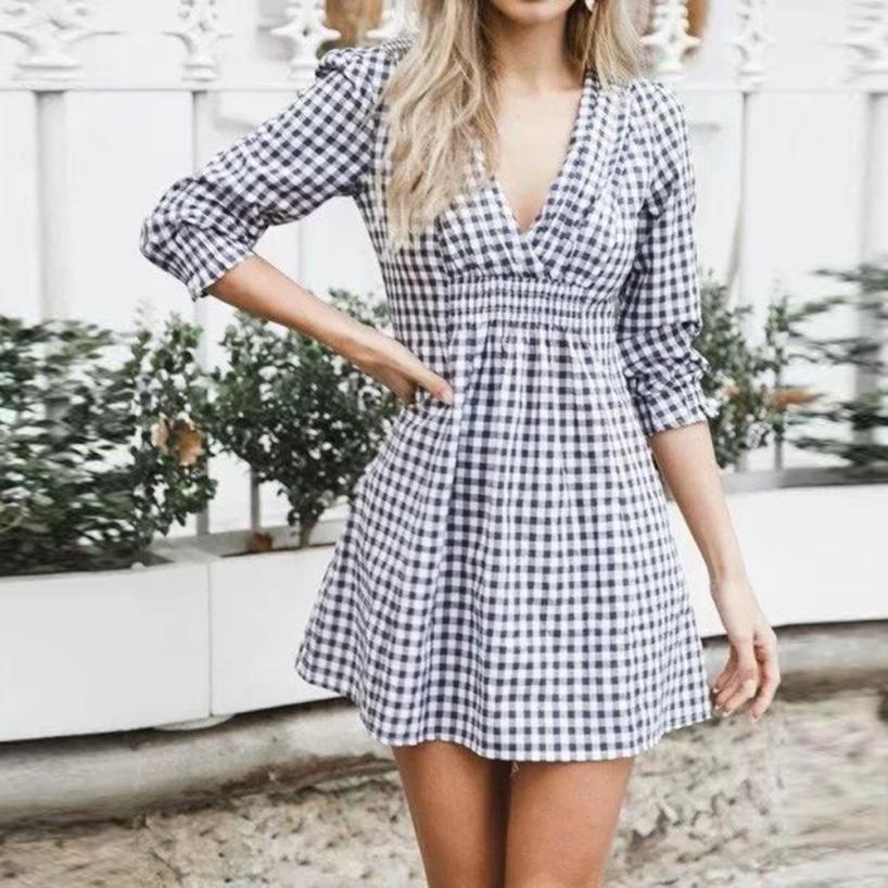 Casual V-Neck Styled Plaid Dress