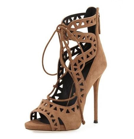 Hot Selling High Quality Brown Suede Leather Peep Toe Lace-up Ankle Boots High Heel Cut-out Strappy Women Dress shoes woman Free